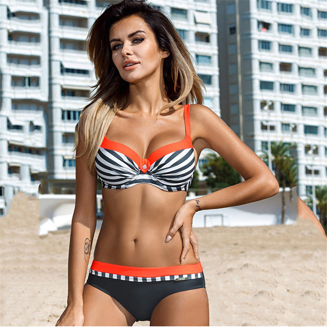 2bea81365e4 YICN Sexy Print Swimwear Women Bikini Set 2018 New Push Up biquini Female  Swimsuit Brazilian Bathing