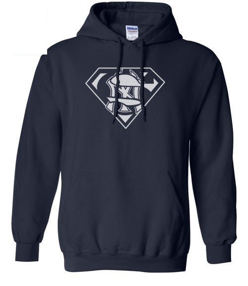 Navy NY New York Yankees Superfan Superteam Superman Hoodie Hooded Sweatshirt  Ladies Unisex Child Toddler Men