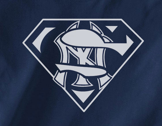 Navy Premium Custom 1 Color NY New York Yankees Baseball Superteam Superman Tee Tshirt T-Shirt Batman