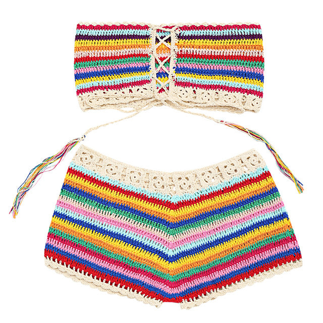 1f3d3e75f8 ZAFUL New Colorful Strapless Crochet Top and Cover-up Shorts Women Summer Beach  Lace Up