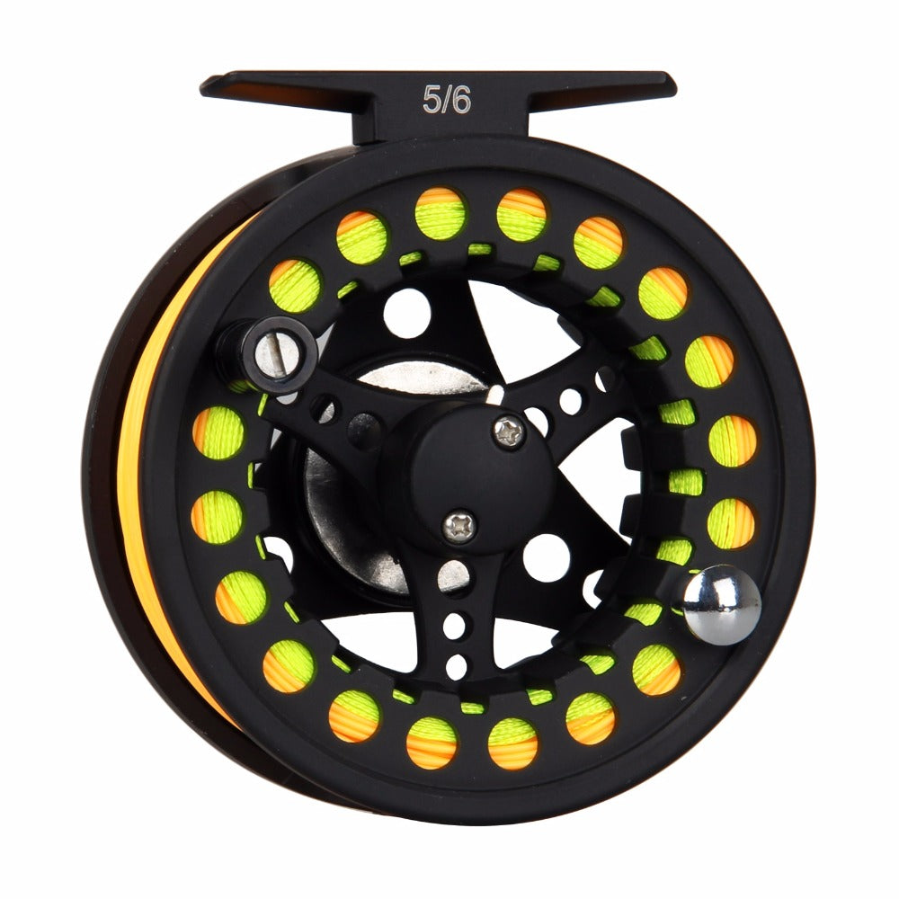 1/2 3/4 5/6 7/8WT Black Fly Fishing Reel Large Arbor Aluminum Fly Reel with Fly Line Backing Leader Loop Tippet