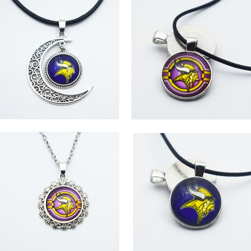 10PCS Football Minnesota Vikings New Style Sports Team Jewelry Pendant Necklace Time Gems Glass Charm Pendant With Chain