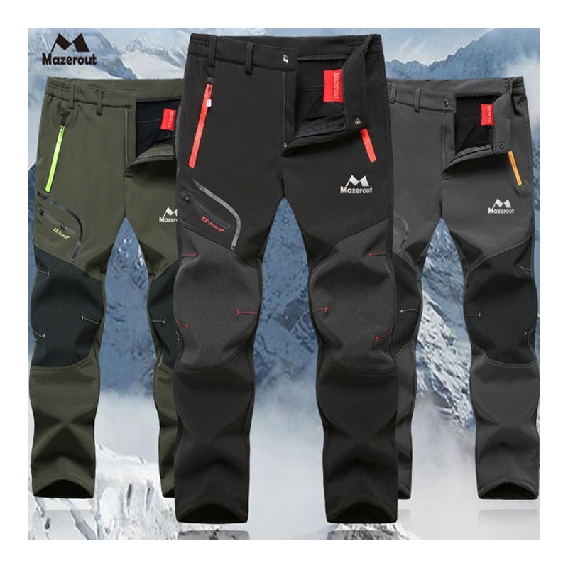 MAZEROUT Man Winter Fishing Waterproof Camping Trekking Fleece Outdoor Hiking Pants Climbing skiing Softshell Trouser Travel 6XL