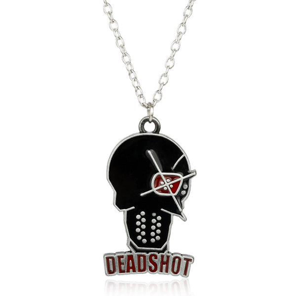 MQCHUN Suicide Squad Deadshot Pendant Necklace DC Comics Harley Quinn Jewelry Justice League Chain Necklace For Movie Fans Gifts