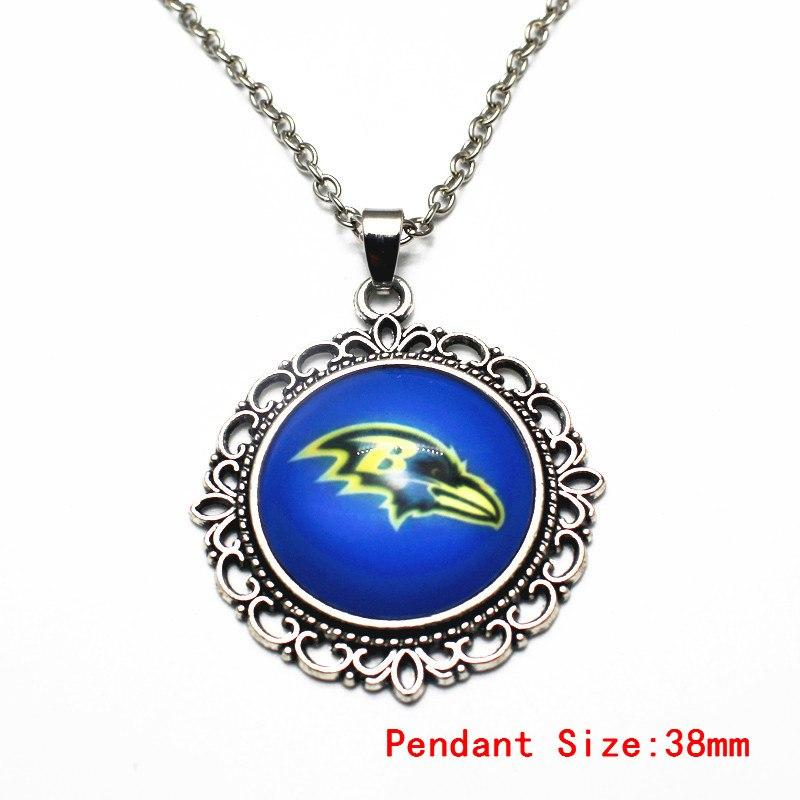 Silver Alloy Vintage Dangle Necklace Football Sports Baltimore Ravens Glass Pendant Necklace Necklace Jewelry For Women Men Gift