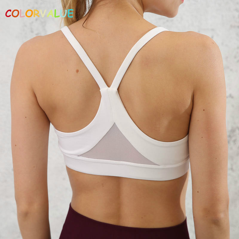 Colorvalue New Plus Size Mesh Patchwork Fitness Yoga Bras Top Women Push Up Solid Workout Athletic Underwear Brassiere Sport