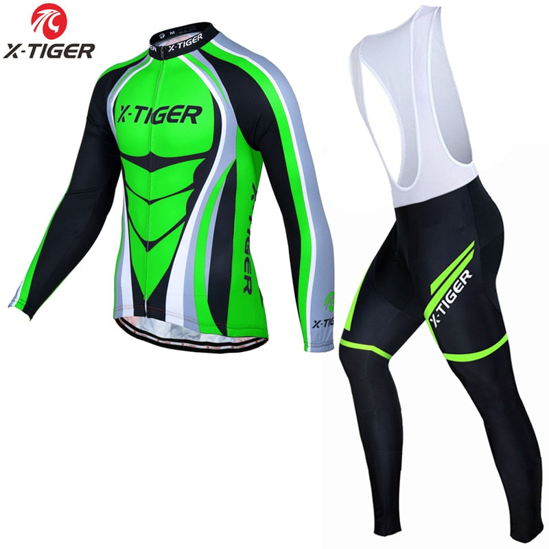 X-TIGER Man Pro Long Sleeve Cycling Jersey Sets Breathable 3D Padded Sports Wear Mountain Bicycle Bike Apparel Cycling Clothing