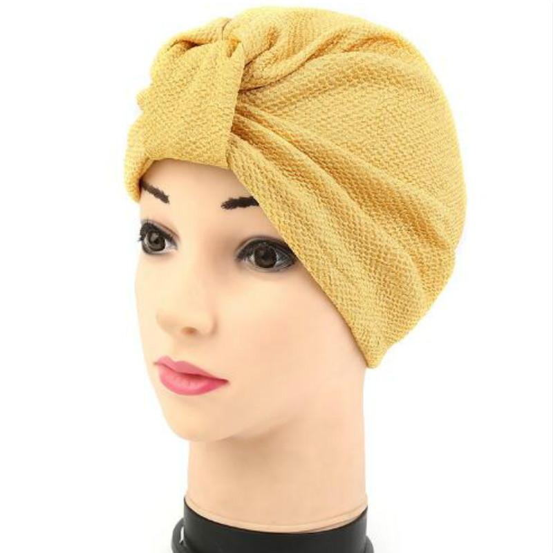 Hot Bandanas Muslim Headscarves Women's Modal Hair Warp Chemo Pleated Pre Tied Head Cover Up Bonnet Turban India Cap