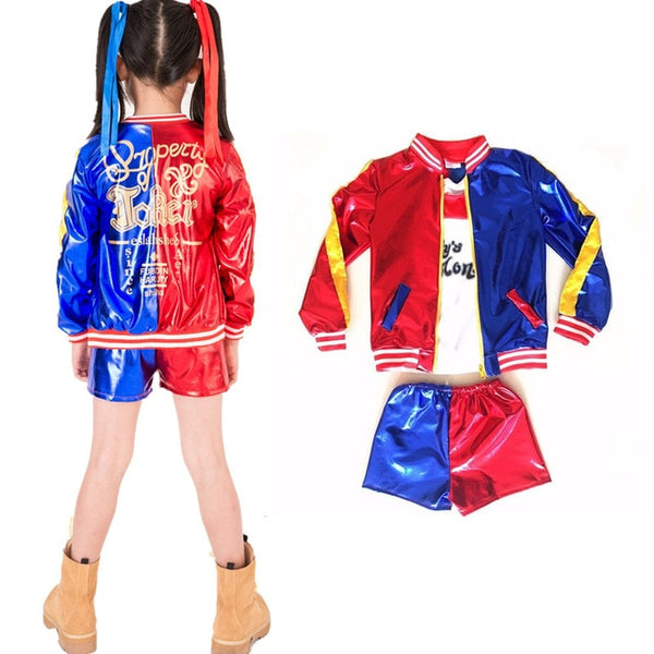 Hot 3pcs Harley Quinn costume jacket T-shirt Tee Daddy's Lil Monster Suicide Squad Cosplay Halloween Costume for kids Girl
