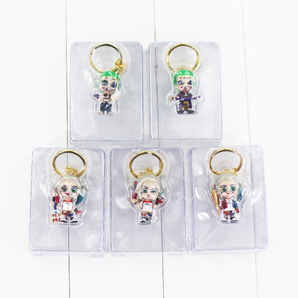 5pcs/lot Suicide Squad Harley Quinn Joker Pendant Keyring Keychain PVC Action Figure Model Toy Doll 3cm