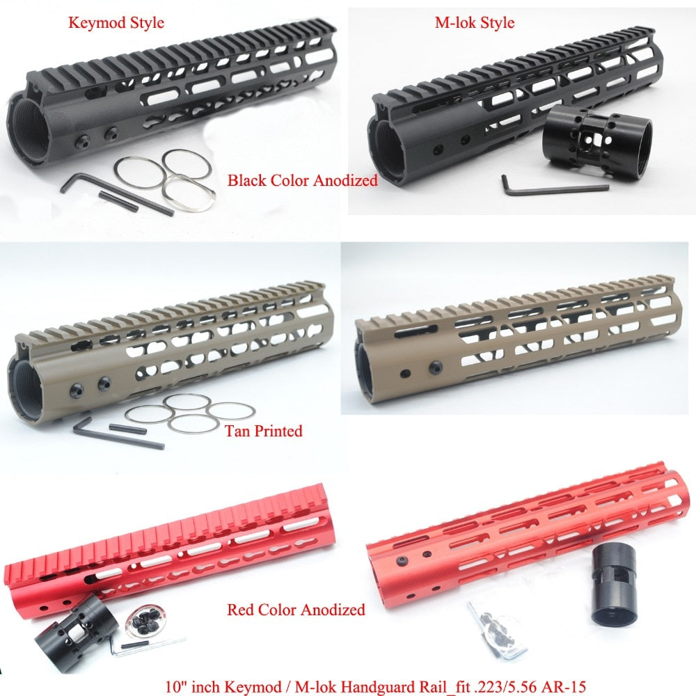 TriRock 10'' inch Length Keymod / M-lok Handguard Rail Free Float Picatinny  Mount System Fit  223/5 56_Black/Red/Tan Color