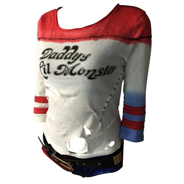Batman Arkham Asylum City 2018 Suicide Squad Harley Quinn Costume T-Shirt Daddy's Lil Monster T-Shirt Cosplay Costumes With Hole