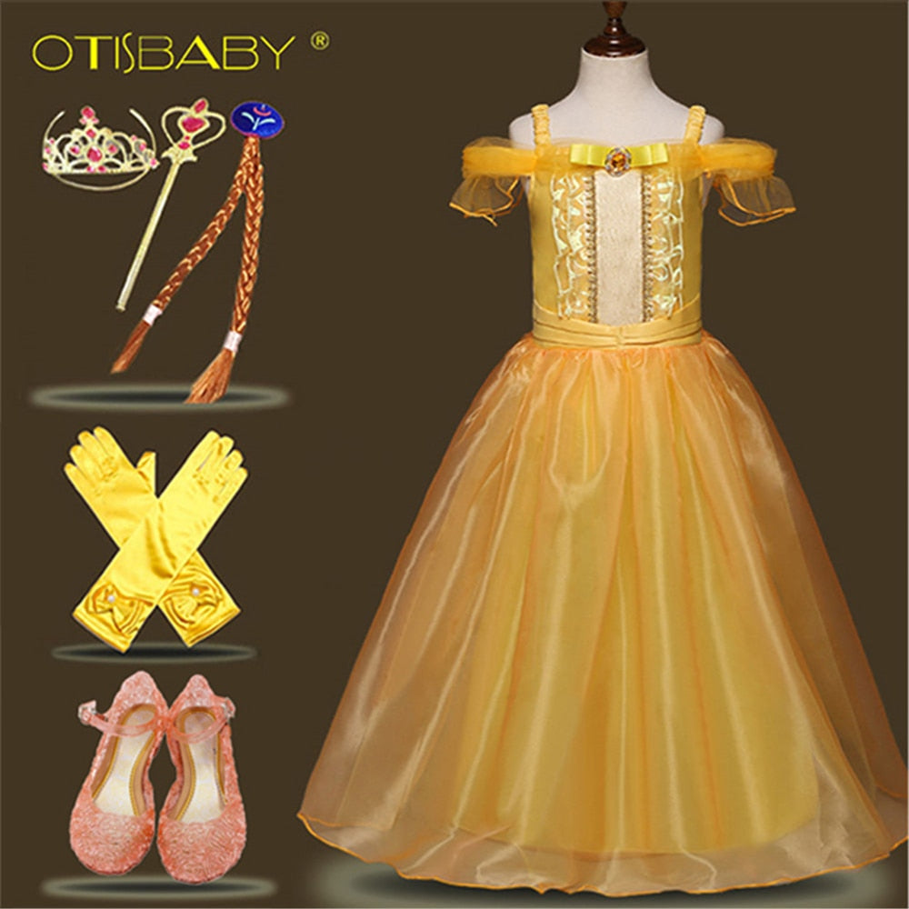 Beautiful Girl Princess Belle Dress Beauty and The Beast Ball Gown Summer Spring Girl Beach Floral Dresses Kids Wesele Dresses