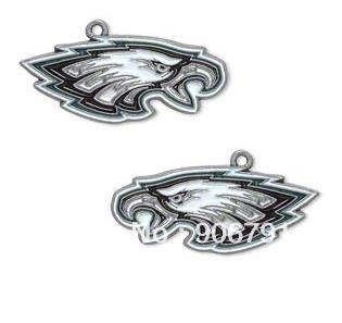 Hot Sale  10pcs a lot  enamel antique silver plated left and right facing Philadelphia Eagles charms