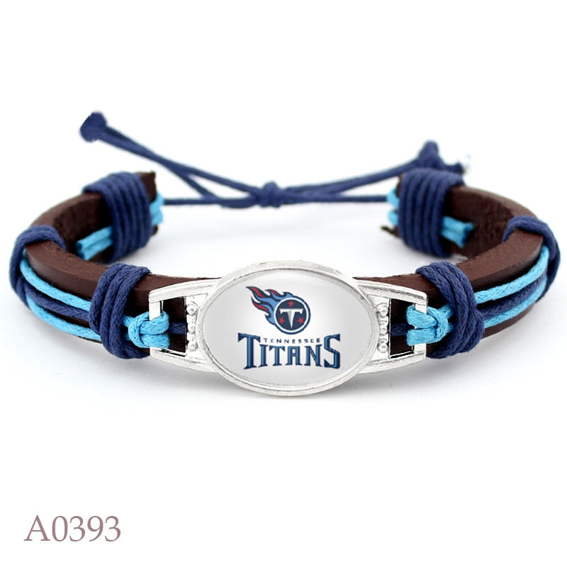 High Quality Tennessee Titans Football Team Leather Bracelet Adjustable Leather Cuff Bracelet For Man And Woman 10pcs/lot