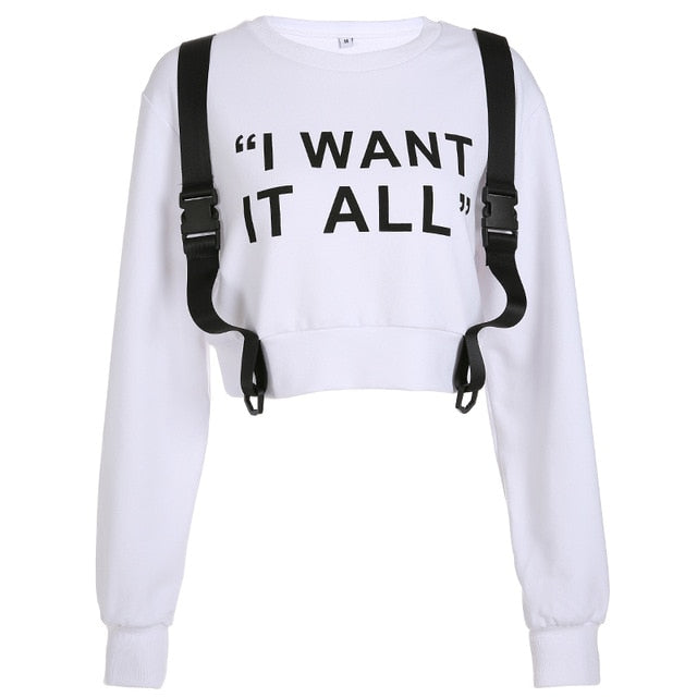 HEYounGIRL Harajuku Crop Top Hoodies Pullover Patchwork Belt Cropped Sweatshirt Women Letter Print White Hoodie Cropped Casual
