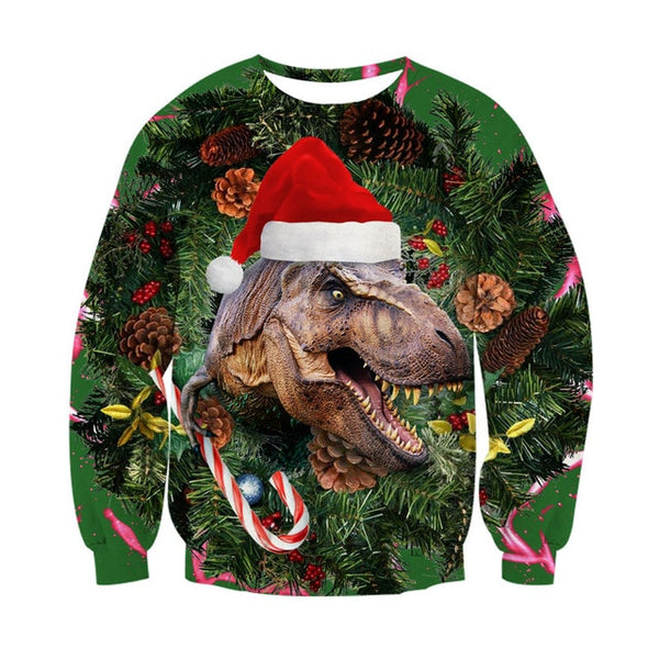 3D Dinosaur Lion Hoodies Sweatshirt Cats Men Women Pullovers Merry Christmas Autumn Winter Jumpers Christmas Gifts Funny Tops