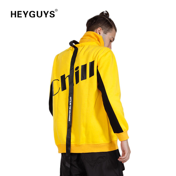 HEYGUYS turtleneck sweatshirts Europe us high street  men cool Hip Hop wear hot selling men designer  yellow hoodie men
