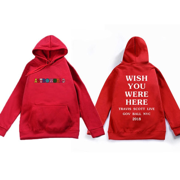 2018 Travis Scott Astroworld WISH YOU WERE HERE Unisex Pullover Hoodie and Sweatshirt different size pls see the size chart