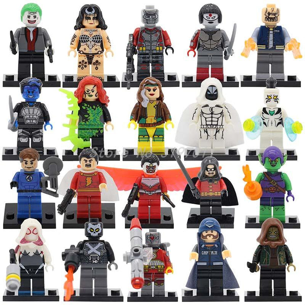 Great Price Wholesale 100pcs/lot Super Heroes Figures Marvel Joker Robin Batman Suicide Squad Spider Man Building Blocks Toys