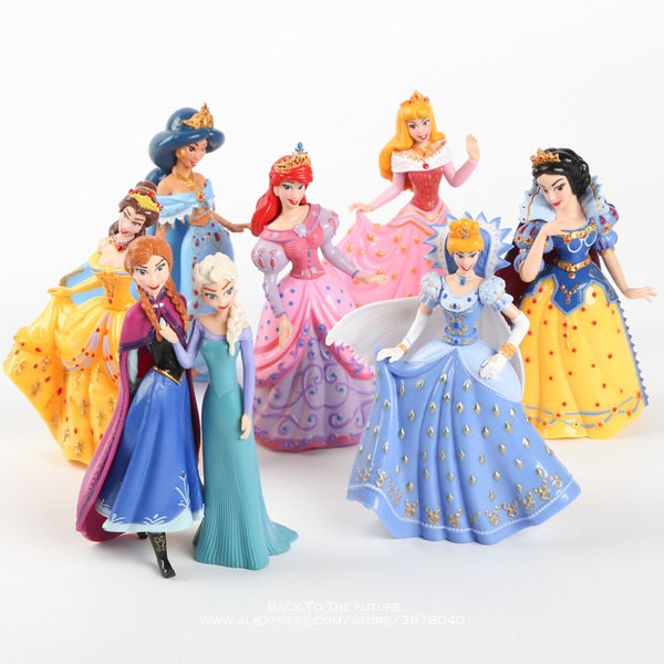 Disney Princess Magic Clip Dolls Dress Magiclip 8pcs/set 12cm Action Figure Anime Decoration Collection Figurine Toy model child