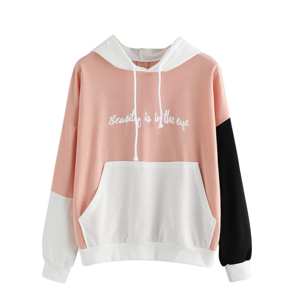 Korean Pink Patchwork Hoodie Tops Womens Autumn Pullovers Fall Ladies Long Sleeve Letters Printed Casual Sweatshirt Cropped #YL5