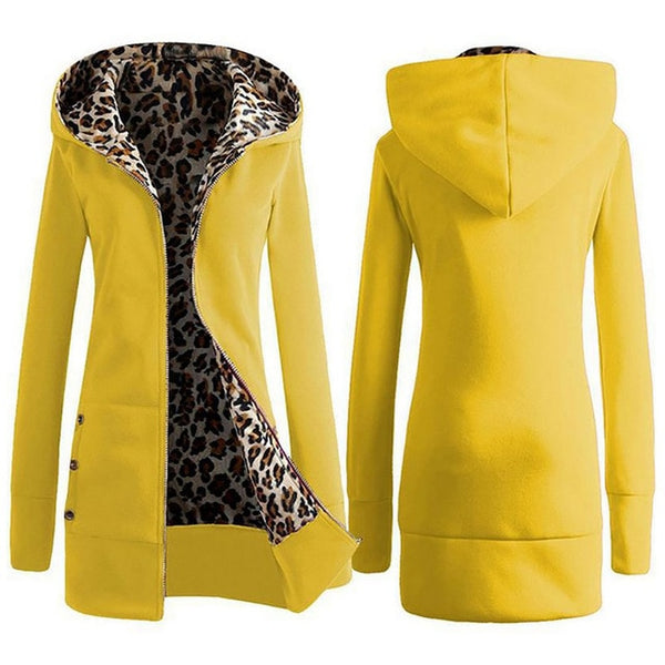 Autumn Winter Leopard Print Women Coat 2018 Fashion Casual Long Hooded Jacket Coat Vintage Hoodies Sweatshirt Slim Women Outwear