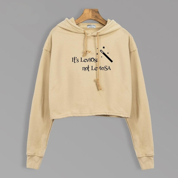 Hogwarts It's LeviOsa Not LeviosA Hoodies Sweatshirts Women Autumn 2018 Movie Cropped Hoody Adult Casual Loose Fit Streetwear