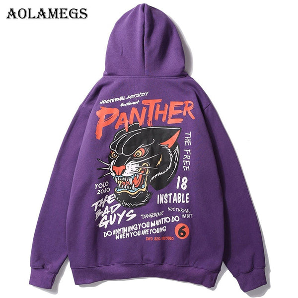 Aolamegs Hoodies Men Creative Tiger Hooded Pullover Sweatshirt Men High Street Fashion Casual Hip Hop Streetwear Hoodie Autumn