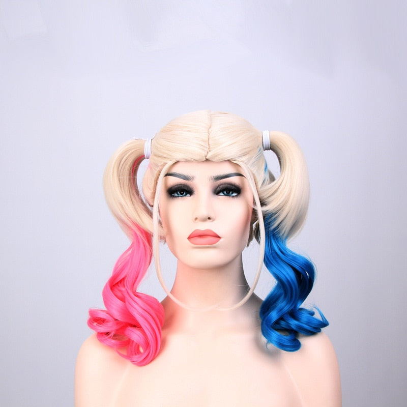 Pink Blue Blonde Mix Harley Quinn Suicide Squad Batman Synthetic Hair Harleen Quinzel Cosplay Costume Headwear Hair