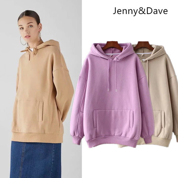 Jenny&Dave hoodies women BTS harajuku cotton  hooded solid none pollovers regular oversize sweatshirt plus size tops 0919