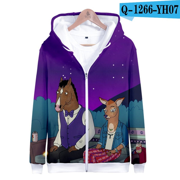 BTS Harajuku Hoodies Sweatshirts 3D BOJACK HORSEMAN Long Sleeve Women Clothes 2018 Hip Hop Kawaii Plus Size Q1260-Q1269