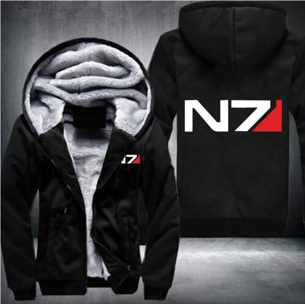 USA size Men Mass Effect N7 Zipper Jacket Sweatshirts Thicken Hoodie Coat Casual sweatshirts men fashion hoodie streetwear