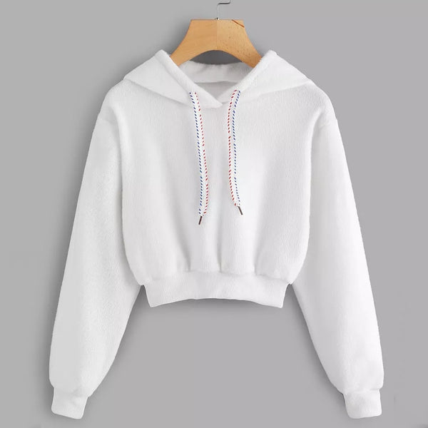 Crop Top Hoodie Harajuku Kawaii Long Sleeve Hooded Clothes Streetwear Autumn Winter 2018 Pullover Tops Blouse Jumper Hooded Kpop