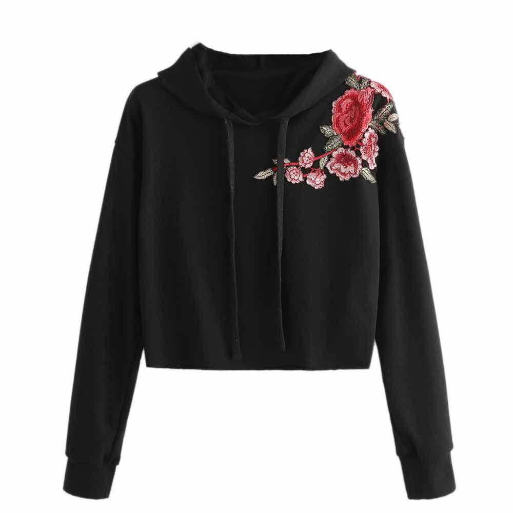 Embroidery Pullover Tops Women Hoodie Sweatshirt Autumn Casual Short Tracksuit Drawstring Girls  Jumper Crop Top Sudaderas #B2