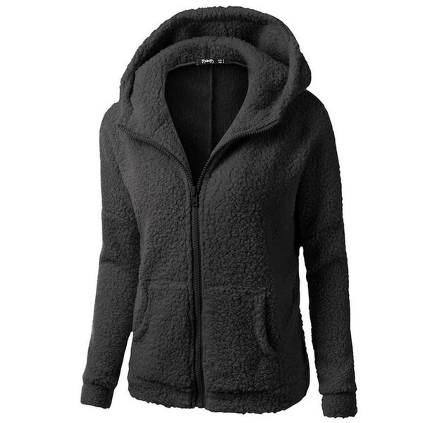 Solid Hooded Hoodies Winter Autumn Coat Women Warm Wool Zipper Outwear Plus Velvet Sweatshirt Fall Hoodies Oversize S-5XL #Z5