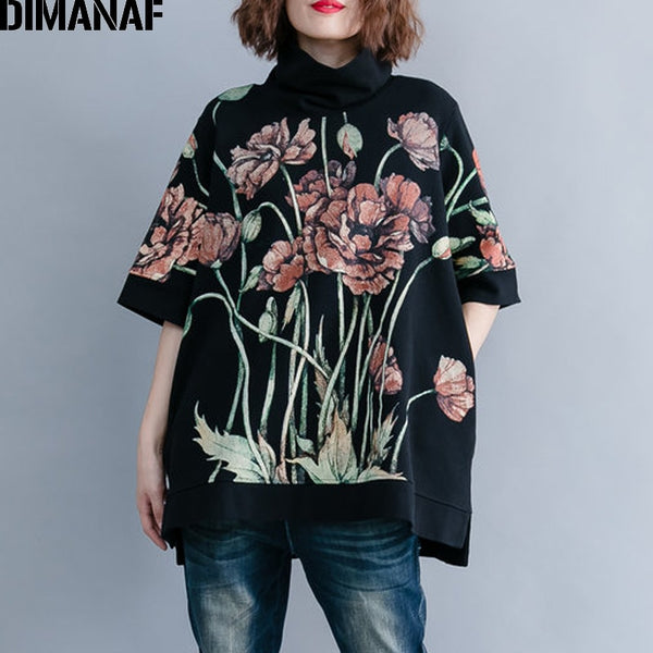 DIMANAF Women Hoodies Sweatshirts Plus Size Tops Black Female Turtleneck Pullover Autumn Thinken Cotton Loose 2018 Print Floral