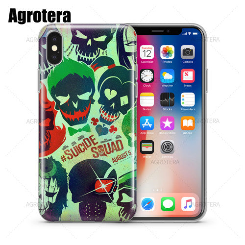 Agrotera Suicide Squad Joker Jared Leto Harley Quinn Margot Robbie Clear TPU Case Cover for iPhone 5 5s SE 6 6s 7 8 Plus X