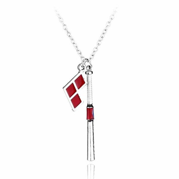Popular Movie Suicide Squad Necklace Joker Quinn Baseball Bat Pendant Accessories Fashion Gift For Women Men Choker Necklace