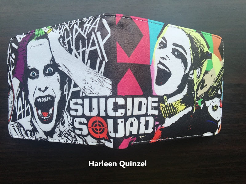 NEW Movie Suicide Squad Harley Quinn Logo wallets Purse Multi 12cm Leather W368
