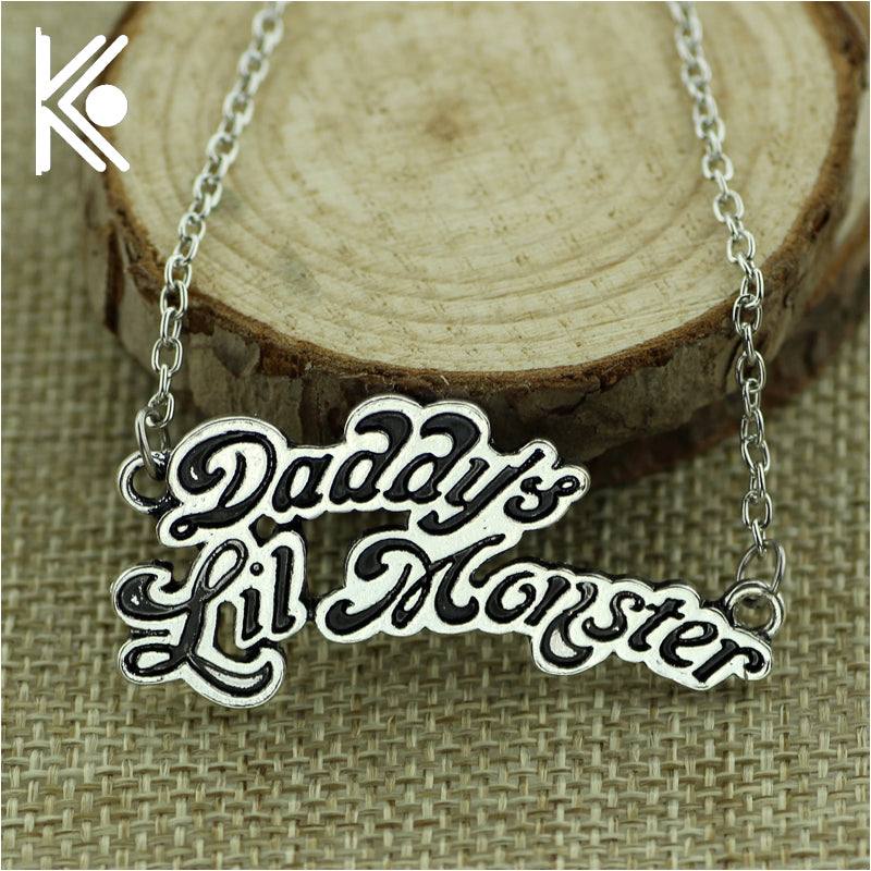 Suicide squads jewelry H Q Necklaces Daddy's Lil Monster Pendant logo cosplay birthday gift