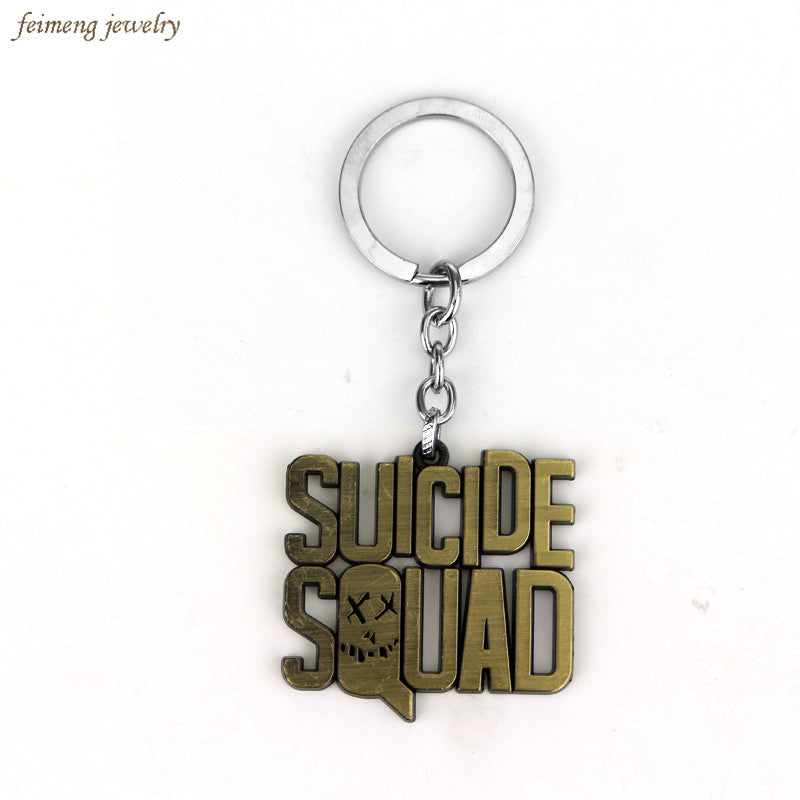 Antique Bronze Suicide Squad Key Chain 2016 New Keyrings For Gifts Chaveiro Car Keychain Jewelry Movie Key Holder Free Shipping
