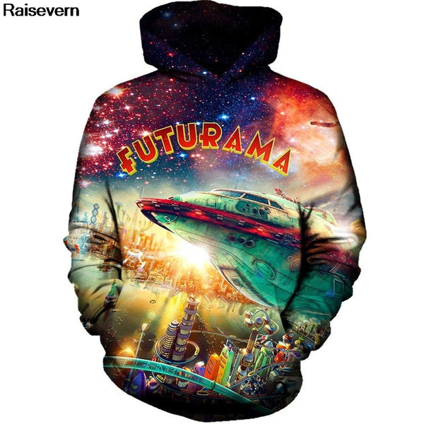 Futurama City Hoodie Men Women 2018 Short Sleeve O Neck Summer Tops Casual Tee Shirt Home All Over Printed 3D Hoodies Sweatshirt