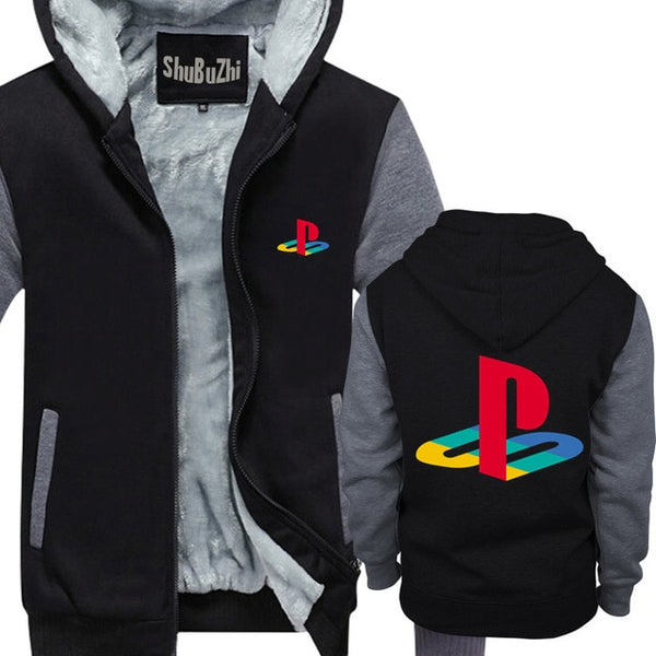 Winter Jacket Warm Hoodie Men Thick Hooded Hipster Playstation Sony Playstation Logo Gamer Licensed male Streetwear coat