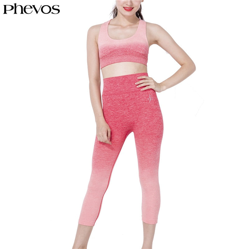 Phevos 2pcs Women Fitness Sports Suit Running Yoga Set Sleeveless Plus Size Sports Bra Elastic Legging Pink Running Sport Suit