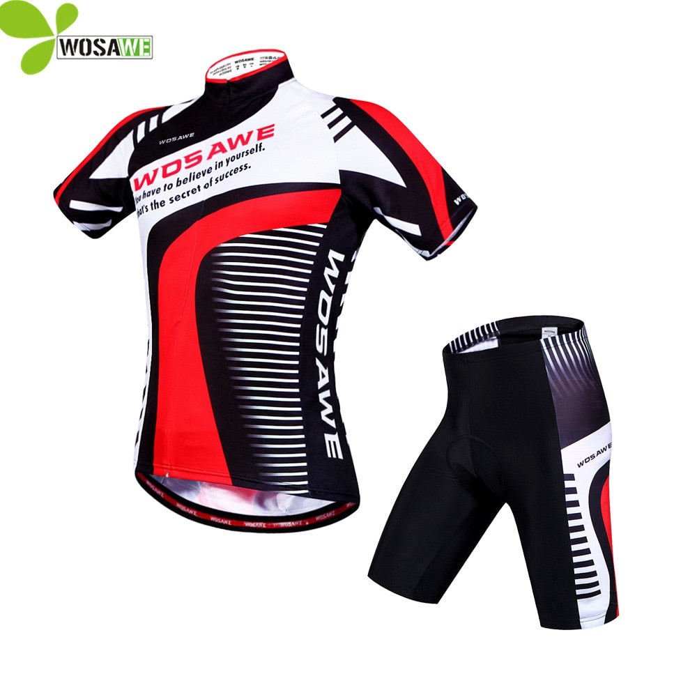 WOSAWE Racing Pro Team Cycling Jersey Short Sleeve Sport Suit 4D Padded Mtb Bike Bicycle Sets Maillot Ciclismo Hombre Clothing