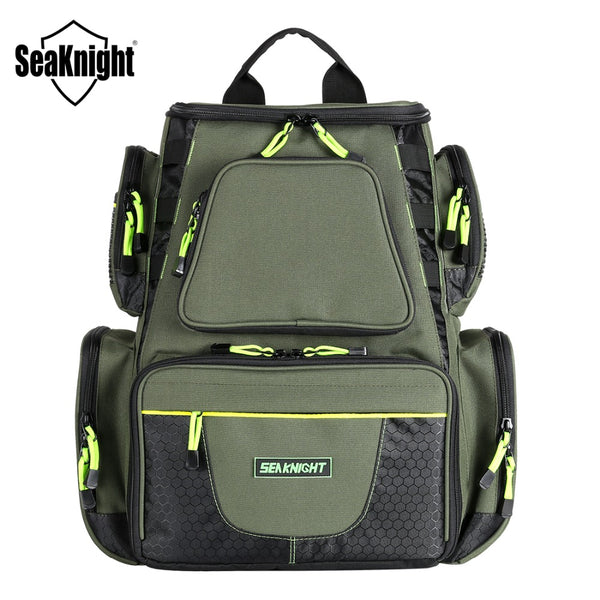 SeaKnight SK004 Large Fishing Bag 1000D Nylon 41*44*20cm MultiFunction Breathable Army Green Big Outdoor Fishing Tackle 2 Layers