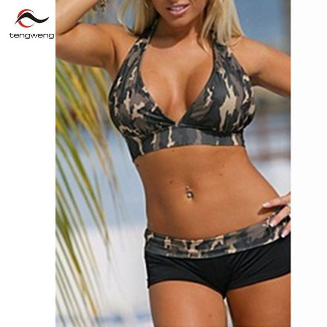 a57f985c5d4db tengweng 2018 New Sexy Deep V Neck Camouflage Plus size Short Bikini Set  Army Halter Women