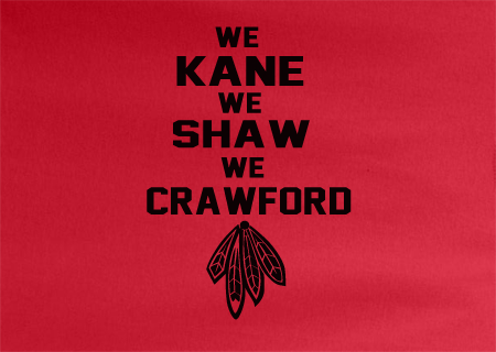 Red Custom 1 Color Chicago Blackhawks Hockey We Kane We Shaw We Crawford Tee Tshirt T-Shirt