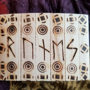 Runes with Wood Burned Box